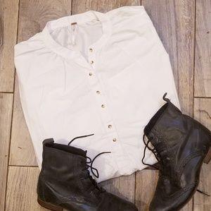 Free People white Boho peasant blouse Large